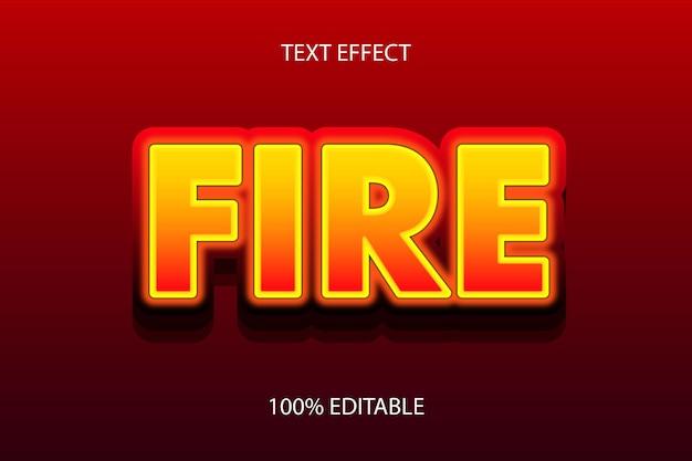 화재 색상 노란색 빨간색 편집 가능한 텍스트 효과