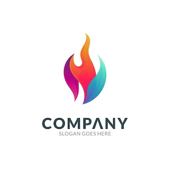 Fire colorful gradient logo vector