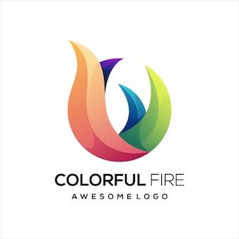 Fire colorful gradient logo Premium Vector