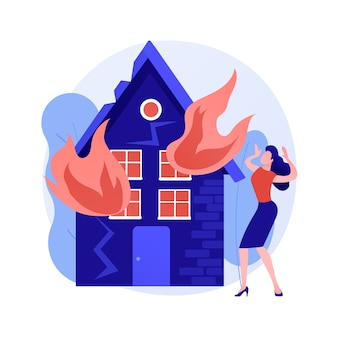 Conseguenze del fuoco concetto astratto illustrazione vettoriale. conseguenze di un incendio, vittima di un incendio, calcolo delle perdite economiche di proprietà e aziendali, servizio di valutazione dei danni, metafora astratta.