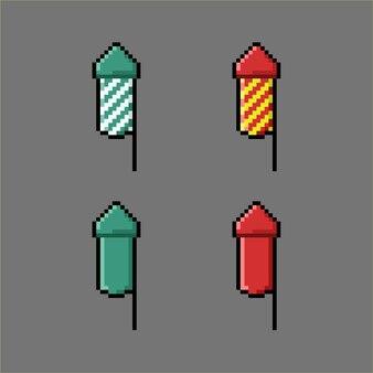 Набор для взлома огня в стиле пиксель-арт