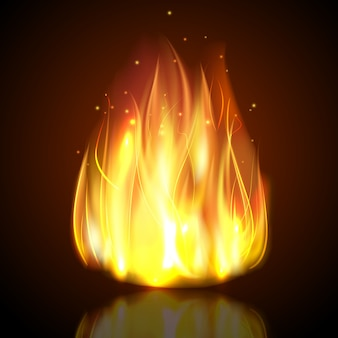 Fire on dark background