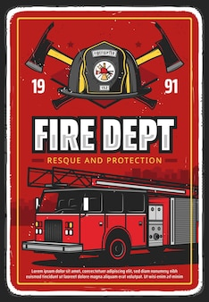 Fire department emergency rescue squad poster