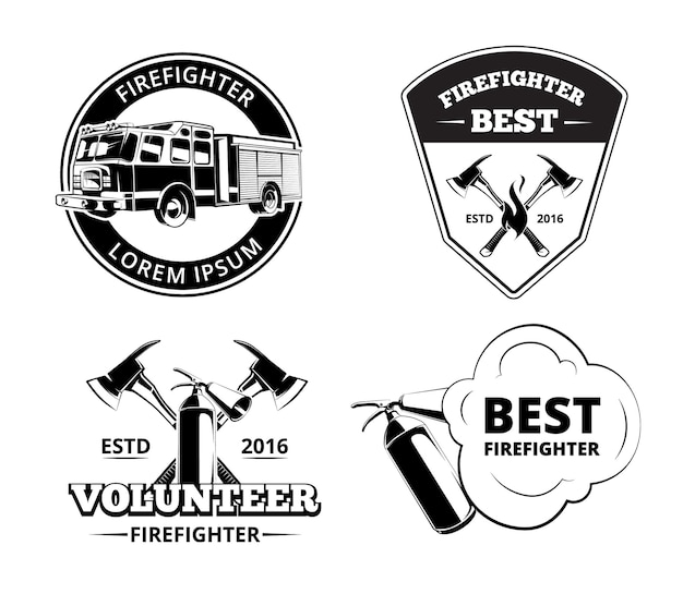 Fire department, firefighter labels and badges vector set. protection fire emblems
