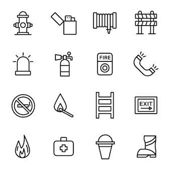 Fire department icon pack, with outline icon style