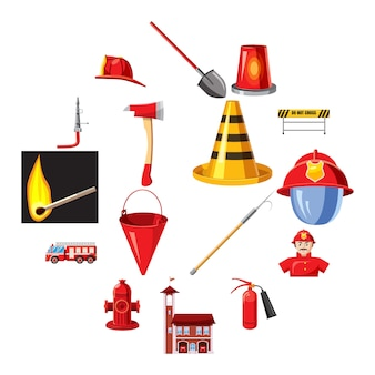 Fire department icons set, cartoon style