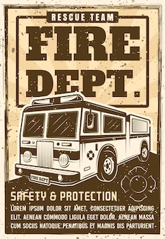 Fire department promo poster in vintage  with truck, headline text and grunge textures on separate layer  illustration