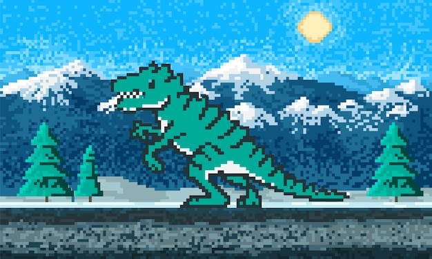 Fire dinosaur and mountain landscape