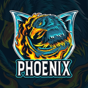 The fire eagle phoenix as an e-sport logo or mascot and symbol as well Premium Vector