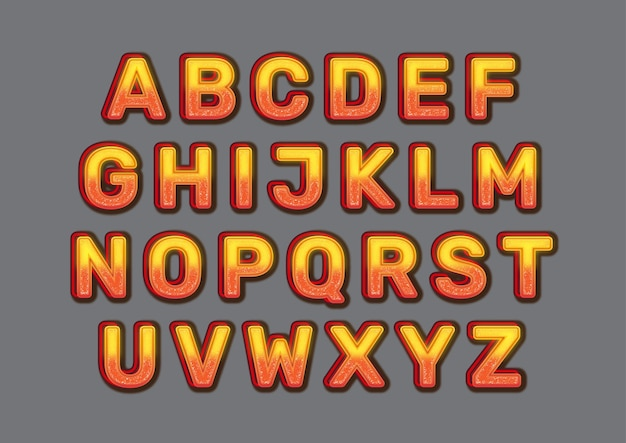 Fire effect alphabets set
