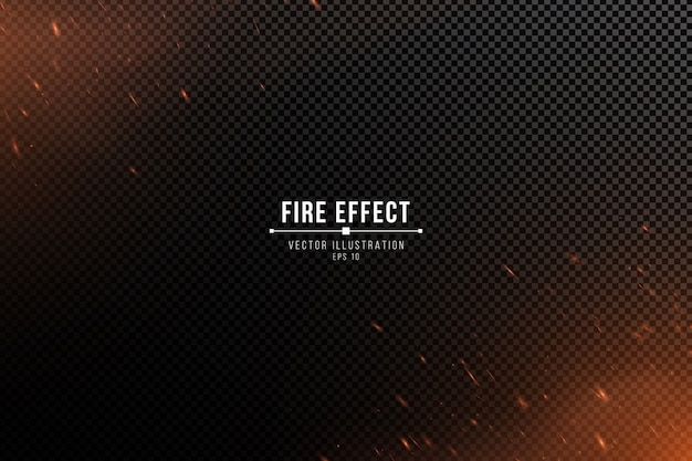 Fire effect with particles on a transparent dark background. the flame sparkles and smoke.