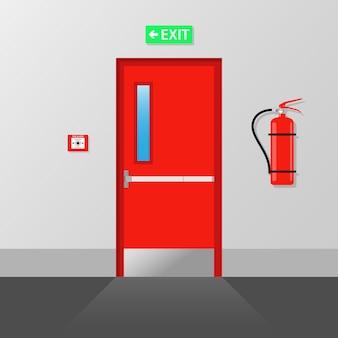Пожарная аварийная выходная дверь пожарный выход дверь аварийного пожарного выхода Premium векторы