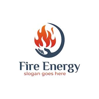 あなたの人生のロゴデザインのためのハンドケアでポジティブな火のエネルギー