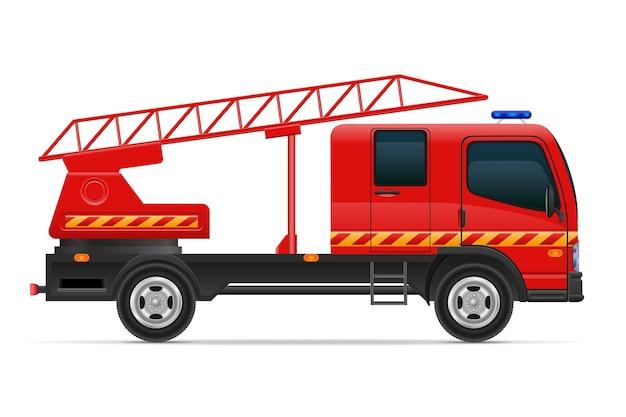 Пожарная машина автомобиль автомобиль иллюстрации, изолированные на белом фоне