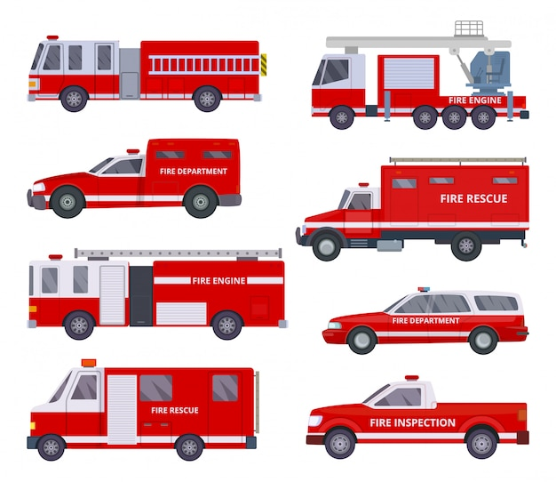 Fire engine. collection with red emergency department lighting service van helicopter vector vehicles