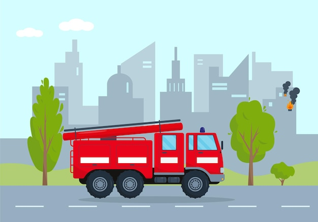 Fire engine going on fire in city. emergency service vehicle concept. red fire truck rushes to rescue.