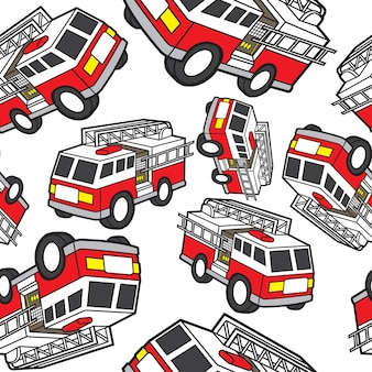 Fire engine seamless pattern