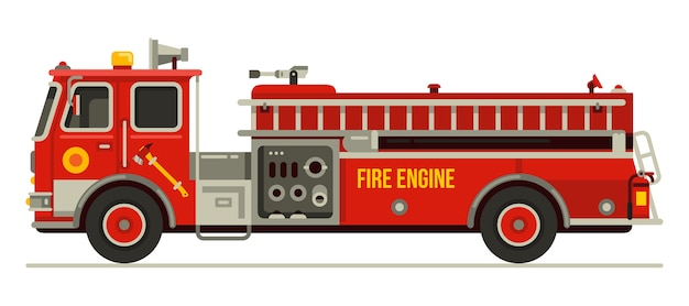 Fire engine truck emergency vehicle in modern flat style