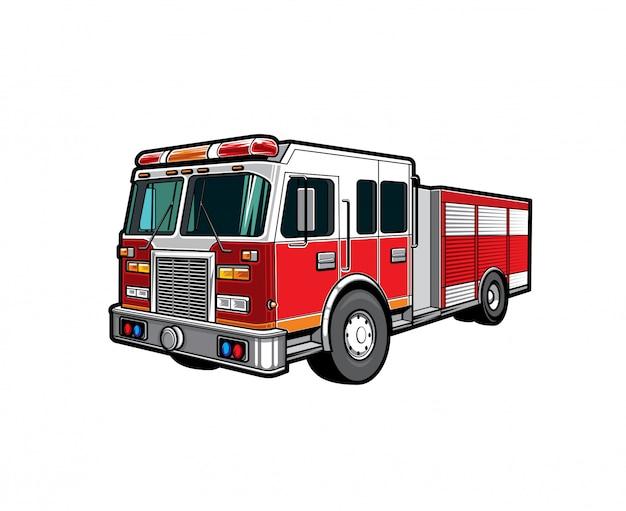 Fire engine truck, firetruck car of firefighters
