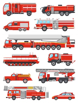 Fire engine vector firefighting emergency vehicle or red firetruck with firehose and ladder illustration set of firefighters car or fire-engine transport isolated