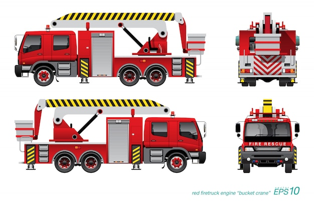 Fire engine with bucket crane
