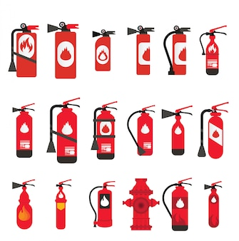 Fire extinguisher different types and sizes, fire safety set different types of extinguishers