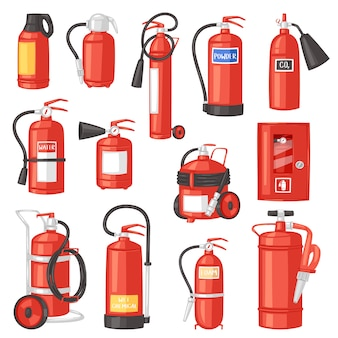Fire extinguisher  fire-extinguisher for safety and protection to extinguish fire illustration set of extinguishing equipment of firefighter  on white background