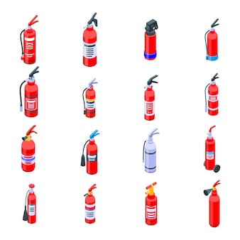 Fire extinguisher icons set