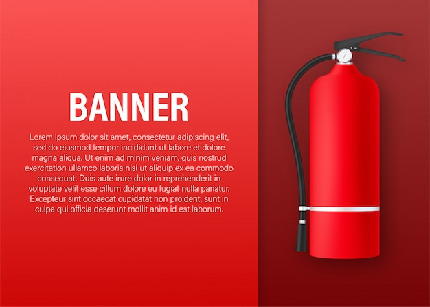 Fire extinguisher protection banner. stock illustration.
