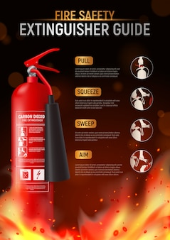 Fire extinguisher vertical poster with big image of fire-fighter flame and editable text with pictograms  illustration