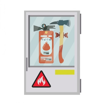 Fire extinguisher with ax. illustration