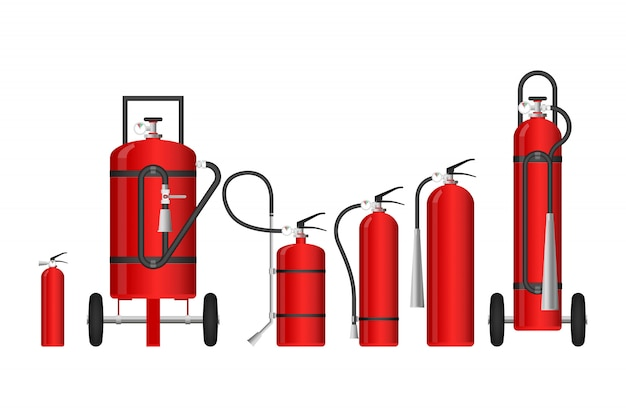 Fire extinguishers of different sizes  illustration