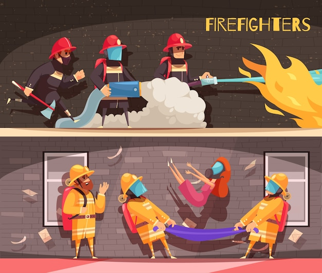 Fire fighter banners set