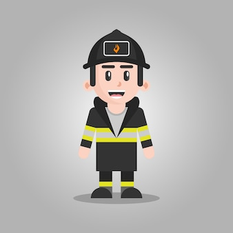 Fire fighter cartoon character illustration