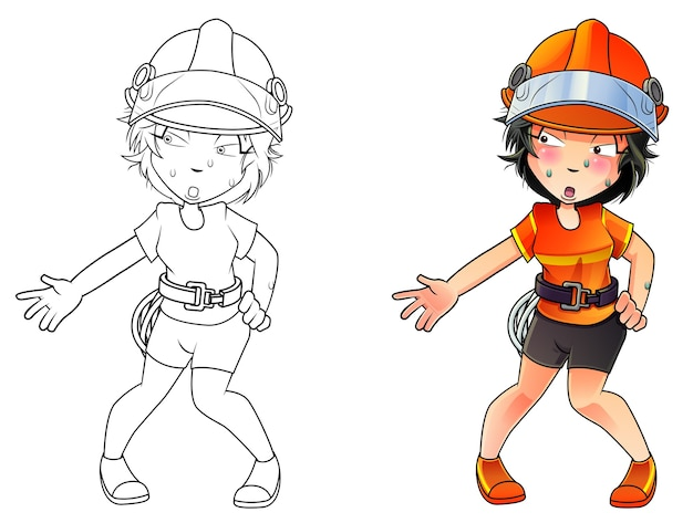 子供のための消防士の漫画の着色のページ