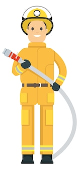 Fire fighter on duty holding a hose