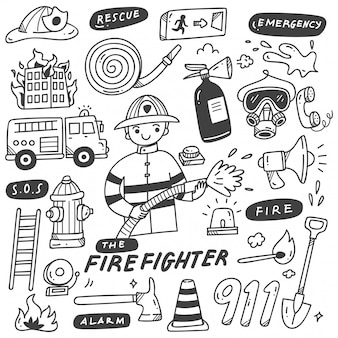 Fire fighter and equipments doodles