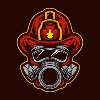 Fire fighter head  illustration design