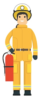 Fire fighter holding an extinguisher