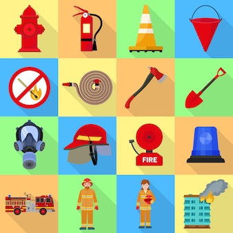 Fire fighter icon set.