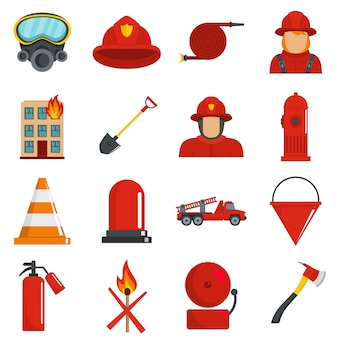 Fire fighter icons set vector isolated