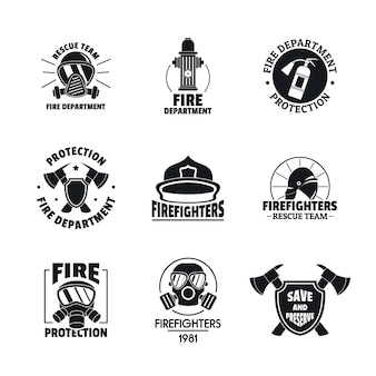 Fire fighter logo icons set