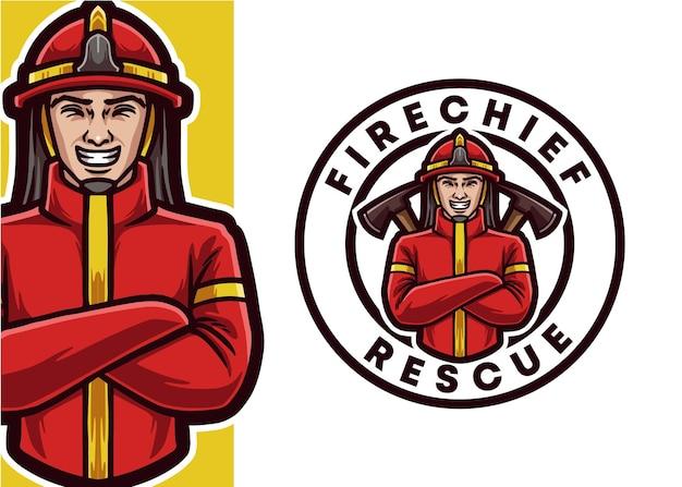 消防士のマスコットのロゴのイラスト