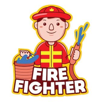 漫画スタイルの消防士の職業マスコットロゴベクトル