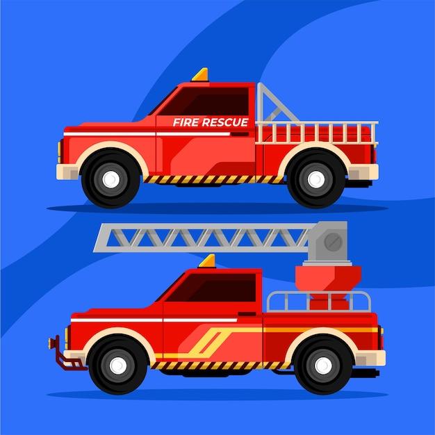消防士救助隊の車両がピックアップして車を発射する