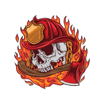 Fire fighter skull fire and axe