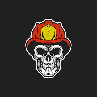 Fire fighter skull vector head illustration