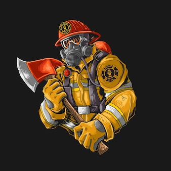 Fire fighter with axe illutration