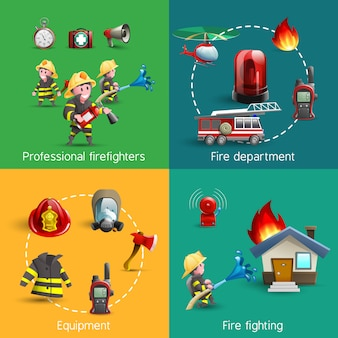 Fire fighters 4 icons square composition