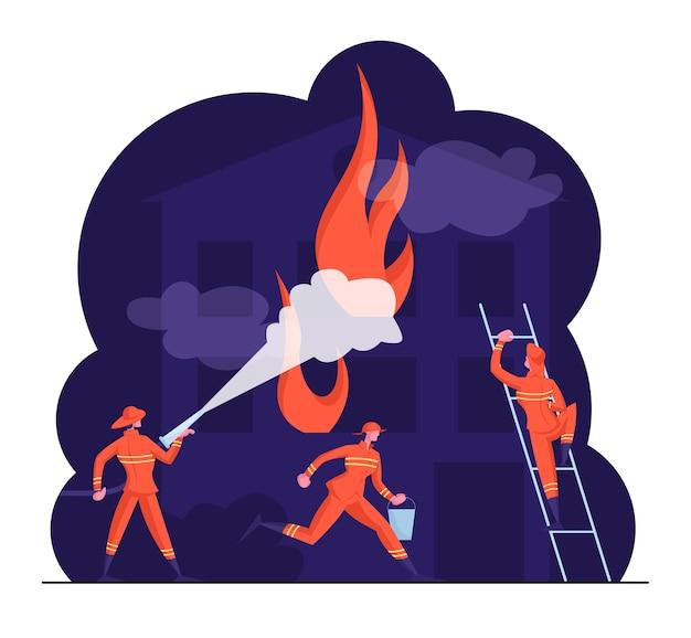 ホースから水を噴霧するはしごに制服を着た消防士の男性キャラクター
